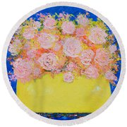 Pink Flowers Round Beach Towel