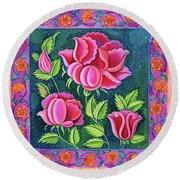 Pink Flowers Round Beach Towel