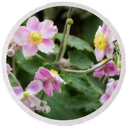 Pink Flowers Over Green Round Beach Towel