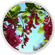 Pink Flowers Virginia City Nv Round Beach Towel