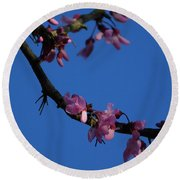 Pink Flowers With A Touch Of Ice Round Beach Towel
