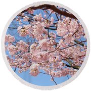 Pink Fluffy Branches Round Beach Towel
