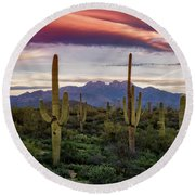 Pink Four Peaks Sunset  Round Beach Towel