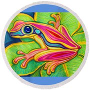 Pink Frog On Leafs Round Beach Towel