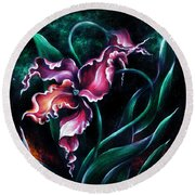 Pink Fuschia Orchid. Dance Of The Nature Round Beach Towel