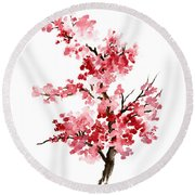 Cherry Blossom, Pink Gifts For Her, Sakura Giclee Fine Art Print, Flower Watercolor Painting Round Beach Towel