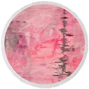 Pink Gray Abstract Round Beach Towel