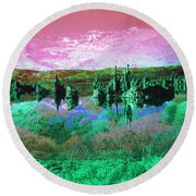 Pink Green Waterscape - Fantasy Artwork Round Beach Towel