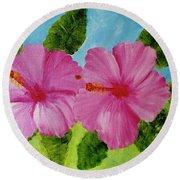 Pink Hawaiian Hibiscus Flower #23 Round Beach Towel