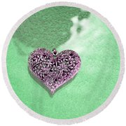 Pink Heart On Frosted Glass Round Beach Towel