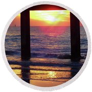 Pink Heart Sun Flare Clearwater Sunset Round Beach Towel