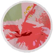 Pink Hibiscus Abstract Round Beach Towel