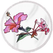 Pink Hibiscus And Geranium  Round Beach Towel