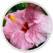 Pink Hibiscus Flower 1 Round Beach Towel