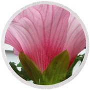 Pink Hibiscus Ready To Bloom Round Beach Towel