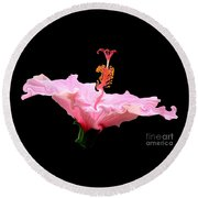 Pink Hibiscus With Curlicue Effect Round Beach Towel