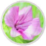 Pink Hollyhock Flower Round Beach Towel
