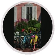 Pink House Bikes Cape May Nj Round Beach Towel