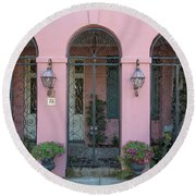 Pink House Round Beach Towel