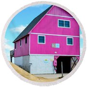 Pink House On The Beach 1 Round Beach Towel
