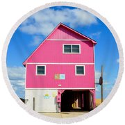 Pink House On The Beach 3 Round Beach Towel