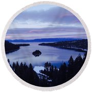 Pink Hues On Emerald Bay Round Beach Towel