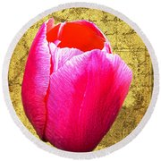 Pink Impression Tulip Round Beach Towel
