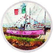 Pink Irish Boat Round Beach Towel
