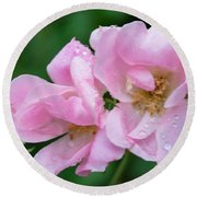 Pink Knockout Rose After The Rain Round Beach Towel