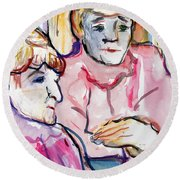Pink Ladies Round Beach Towel by Mindy Newman