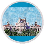 Pink Lady Don Cesar Watercolor Round Beach Towel