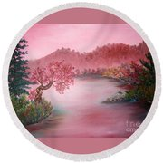 Pink Lake Round Beach Towel
