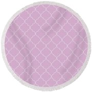 Pink Lavender Quatrefoil Round Beach Towel