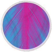 Pink Leaf Round Beach Towel