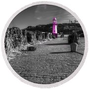 Pink Lighthouse Of St Ives Round Beach Towel