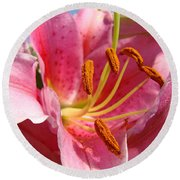 Pink Lilies Art Prints Lily Flowers 3 Giclee Artwork Baslee Troutman  Round Beach Towel