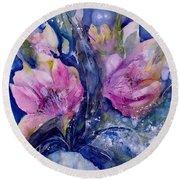 Pink Lilies In Vase Round Beach Towel