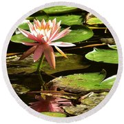 Pink Lily 14 Round Beach Towel