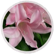 Pink Lily Flowers Round Beach Towel