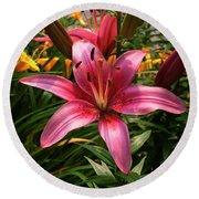 Pink Lily Lush Garden Round Beach Towel