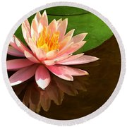 Pink Lily Reflection 4 Round Beach Towel