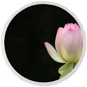 Pink Lotus Bud Round Beach Towel