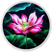 Pink Lotus From L.a. City Park Round Beach Towel