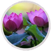 Pink Lotus Round Beach Towel