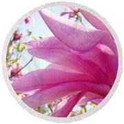Pink Magnolia Flower Art Print Botanical Tree Baslee Troutman Round Beach Towel