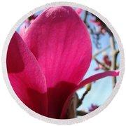 Pink Magnolia Flowers Magnolia Tree Spring Art Round Beach Towel