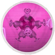 Pink Male Pipe Round Beach Towel