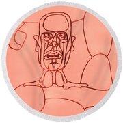 Pink Man Round Beach Towel