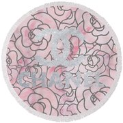 Pink Marble Chanel Round Beach Towel