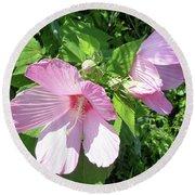 Pink Marsh Mallow Wildflower Round Beach Towel